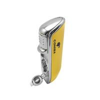 zigarrenfeuerzeuge gelb großhandel-Vier Farbe COHIBA GELB Metall 3 FACKEL JET FLAMME CIGAR CIGARETTE FEUERZEUG MIT PUNCH KOSTENLOSER VERSAND