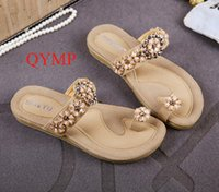Wholesale Womens Beaded Shoes - Hot Summer Women Sandals 2017 Fashion Bohemia Womens Shoes Beaded Flower Sandalias Femininas Casual Thong Flats Shoes Women