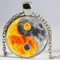 Wholesale Black White Cabochon - Yin Yang necklace Tai Ji pendant white black cross jewelry Taoism necklace bronze chain glass cabochon zen ying yang jewellery