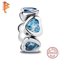 Wholesale Loose Flat Beads Free Shipping - BELAWANG 925 Sterling Silver Loose Beads Blue Crystal Heart Big Hole Beads Charm Fit Pandora Bracelet&Neckalce Jewelry Making Free Shipping
