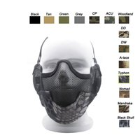 Wholesale Outdoor Shooting Sports Face Protection Gear V2 Metal Steel Wire Mesh Half Face Tactical Airsoft Mask with Ear Protention