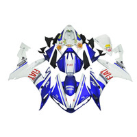 Wholesale yamaha r1 fairings white - 3 free gifts Complete Fairings For Yamaha YZF 1000 YZF R12004 2005 2006 Injection Plastic Motorcycle Full Fairing Kit White Blue b12