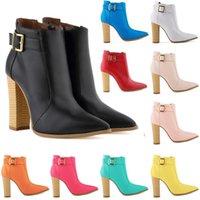 женские сапоги на высоком каблуке оптовых-Женские дамы зима острым носом матовый искусственная кожа высокие каблуки случайные ботильоны обувь Botas Femininas размер США 35-42 D0048