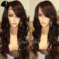 Wholesale Human Hair Top Bangs - Silk Base Glueless Full Lace Wig With Baby Hair Virgin Hair Peruvian Body Wave Silk Top Full Lace Human Hair Wigs With Bangs