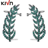 Wholesale Bohemian Feather Cuffs - KIVN Fashion Jewelry Colorful Feather CZ Cubic Zirconia Leaf Ear Cuff Ear Crawler Climber Earrings for Women Birthday Christmas Gifts