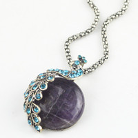 N006 Peacock Crystal Amethyst Turquoise Necklace (Pedra natural, não de plástico ou resina) Vintage Look Alloy Antique Silver Multi-Stone Pendant
