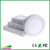 Wholesale 12w Led Downlight Inch - Dimmabel 6W 12W 18W 24W Surface Mounted Round Square LED Panel Light 5-7-9-12 Inch Dimmable LED Ceiling Lights Downlight