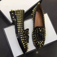 Wholesale women tassel loafers - 2017 Black Gold Spiked Flat Shoes Woman Pointed Toe Genuine Leather Tassel Loafers Fashion Studd Slip On Loafers Black EU41