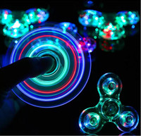 Wholesale Spinning Glow Toys - New Fidget Spinner Glow in Dark EDC Toy Camouflage LED Decompression Anxiety Stress Reliever Aluminium Metal Transparent Clear Tri Spinning