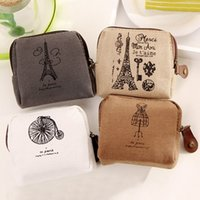 Atacado- Unisex Ladies Retro Paris Mais baratos Canvas Pequenos Zip Change Coin Purse Key Car Pouch Little Money Bag Men's Mini Coin Wallet