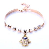 Wholesale Charms For Bracelets Wholesale Hamsa - Charm Bracelets Bangles for Women Womens Fashion Style Gold Rhinestone Evil Eye Hamsa Hand Jewelry Bangle Bracelet