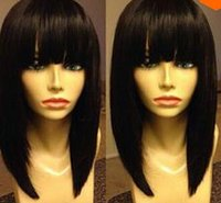 Wholesale Virgin Curly Hair Grade 6a - ePacket free shipping>Grade 6A peruvian virgin hair 130%density bob lace wig front lace wig & glueless simulation lace wig short human hair