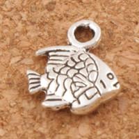 kleine silberne perlen großhandel-Kleine Fische Charme Perlen 500 teile / los Heiße Antike Silber Anhänger Schmuck DIY L062 10,7x9,5mm
