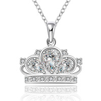 Wholesale Crown Molding Wholesale - Crown Pendant Necklace Cute 925 Sterling Silver Plated & Zircon for Women Fashion Crown Molding Crystal Silver Necklace Top Quality Jewelry