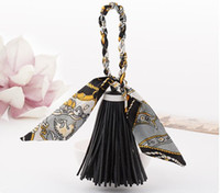 Wholesale Bowknot Scarfs - Fashion Accessories Scarves Key chain Bowknot Exquisite Decoration PU Leather Tassels Keychains Women Bag Charm Pendant Keyrings