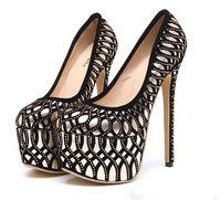 Wholesale Sexy Shoes Platform Pattern - Trendy Rhinestone Curve Pattern Platform Pumps Sexy High Heels Party Club Wear 16cm Size 35 To 40