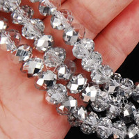 Wholesale Loose Gemstones Beads Wholesale - 1000PCS wholesale 4x6mm Silver AB Swarovski Crystal Gemstone Loose white Beads bead Silver NSn