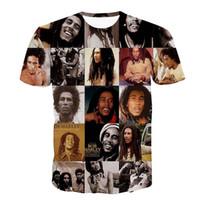 bob marley baskı pamuk toptan satış-Alisister pamuk o-boyun kadınlar / erkek T Shirt Reggae Bob Marley 3D baskı erkekler T-shirt casual erkekler t gömlek hip hop yaz tops
