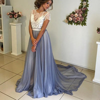 Wholesale Senior Woman Size - Vestidos De Formatura Prom Dresses 2017 Lace Vintage Tulle Dusty Blue Prom Gowns Women Senior Imported Formal Party Dresses