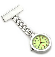 Wholesale Hanging Brooch - nurse fob watch glow in dark dial face hospital nursing doctor students lapel brooch classic hanging pocket clock as medical gift