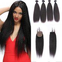 saç eklentileri düz ipek kapatma toptan satış-Brezilyalı Saç Kapatma 100% Insan Saç Demetleri 4x4 Boyutu Ipek Tabanı ile Kapatma Doğal Siyah Sapıkça Düz Saç Uzantıları FDSHINE
