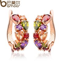 Wholesale Nickel Stone - BAMOER Real Gold Plated Gold Unique Stud Earrings with Multicolor AAA Zircon Stone Nickel, Cadmium free Jewelry JIE020