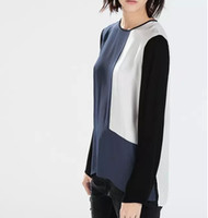 Wholesale Color Block Blouses - Women elegant color blocking chiffon blouses stylish O neck long sleeve Blusas Femininas European casual slim brand tops LT41