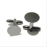 Wholesale Wholesale Cufflink Blank Trays - 50pcs lot 18mm French Style Cufflink Settings Blank Round Pad Tray Cabochon Base For DIY Clothes Accessories