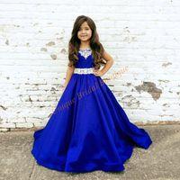 jugendlich königsblaues kleid großhandel-Pageant Kleider für Jugendliche 2017 Neue Ankunft mit Perlen Hals und Bodenlangen Royal Blue Satin Ballkleid Pageant Kleider für Mädchen Größe 12
