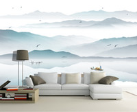 Wholesale Customized Wedding Paintings - Customized photo wallpaper 3d wall murals wallpaper Ink painting landscape town fishing boat mural 3d TV background room wall