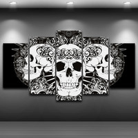Wholesale Metal Picture Prints - Unframed 5 Pieces Canvas Painting Fashion Home decoration Abstract Metal Art Skull Painting Wall Art Print Poster Picture For Living Room