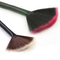 resaltador marrón al por mayor-2017 Pinceles de maquillaje Negro y Marrón Nuevo Pro Fan Shape Makeup Cosmetic Brushes Blending Highlighter Contour Face Powder Beauty Tools WX-B13