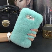 Wholesale Fuzzy Phone Cases - Top Rex Rabbit Fuzzy Hair Phone Case For LG G2 G3 G4 G5 G6 V10 V20 V30 Fluffy Hair capas para Cute Rhinestone Luxury Phone Fundas Cover Caja