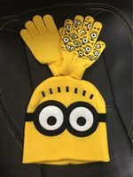 Wholesale Minions Hats For Kids - children cartoon Minions cute gloves winter crochet caps knitted scarf soft cotton warm hats for kids boys girl wool accessories three-piece