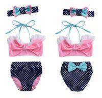 Wholesale Skirt Swim Suits - ins summer style Baby Girls Swimwear Kids 3pcs Big Bow tops Dress Swimsuit Cute Skirt Swim suit Lovely kid's Bathing Suits