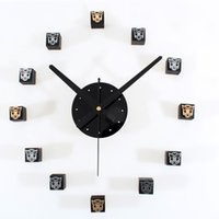 Wholesale Diy Wall Clock Metal - Wood Mute Wall Clock modern design Metal DIY 3D Stereoscopic Simple Fashion Creative Art Acrylic Style Wooden Box DIY Self-adhesive