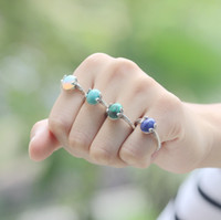 Wholesale Blue Copper Turquoise Ring - nature leaf engagement ring,Opal ring Blue Stone Lapis ring,Turquoise STONE,Malachite stone ring,cute girl jewelry