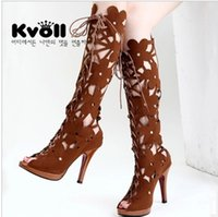 Wholesale Kvoll Heels - Kvoll spring and autumn hollow out bind cross the new 2017 peep-toe boots ultra high platform waterproof fish mouth cool black boots