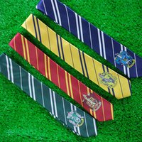 Wholesale Ravenclaw Tie - Hogwarts School tie for film fans gryffindor Slytherin Ravenclaw Hufflepuff badge ties necktie Neckwear for men women statement 240416