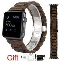 Wholesale Wooden Box Wholesale - Natural Wood Watch Band Sandalwood Wrist Wooden Strap For Apple Iwatch 42MM With Adaptor Retail Box