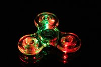 Wholesale Light up Hand Spinners LED ABS Bright Fidget Spinner Triangle Finger Spinner Transparent Crystal Colorful Decompression Toys