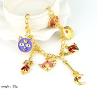 Wholesale Sailor Bracelets Wholesale - Wholesale- Anime Sailor moon charm bracelet magic card bracelet Female Christmas jewelry Gold-plated jewelry Wholesale and drop shipping