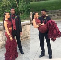 Wholesale Maroon Jacket - Elegant Two Pieces Burgundy Lace Mermaid Maroon Prom Dresses 2017 Jewel Neck Plus Size Evening Occasion Gowns Vestidos Custom Made Cheap