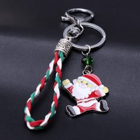 Wholesale Metal Charm Santa - Cute keychain for christmas gift PU leather bag charm pendant Santa Claus cartoon keyrings Fahion Accessories
