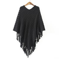 Wholesale Poncho Tricot - Wholesale-batwing sleeve tassel hem knitting cloak sweater 2016 women fall fashion tricot cape poncho Autumn winter jumper knitted wear