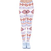 Wholesale Indian Trousers - Lady Leggings Indian Aztec 3D Graphic Print Girl Skinny Stretchy Pants Fitness Tight Capris Colorful Pattern Jeggings Yoga Trousers (J43473)