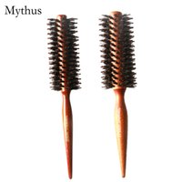 Wholesale Round Wooden Handle Brush - 2 Sizes Wooden Brush Natural Boar Bristle Round Rolling Hair Brush Tip Tail Handle Hair Care Tools TG-3303