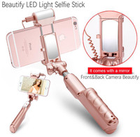 Wholesale high quality beautify selfie stick Bluetooth LED rotatable Light Selfie Stick with Rear Mirror for iphone and android samsung phone