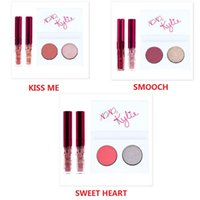 Wholesale Valentine Mini Gift - New Kylie Valentines Mini kit Collection Duo Eye kyshadow +2 Lip Gloss KYLIE Jenner Makeup Set Kiss Me Smooch Sweet Heart free shipping+Gift