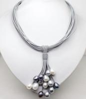 ingrosso cinghie di cuoio delle collane della perla-12mm Reale Bianco Nero Grigio perla d'acqua dolce Collana in pelle con fibbia magnetica